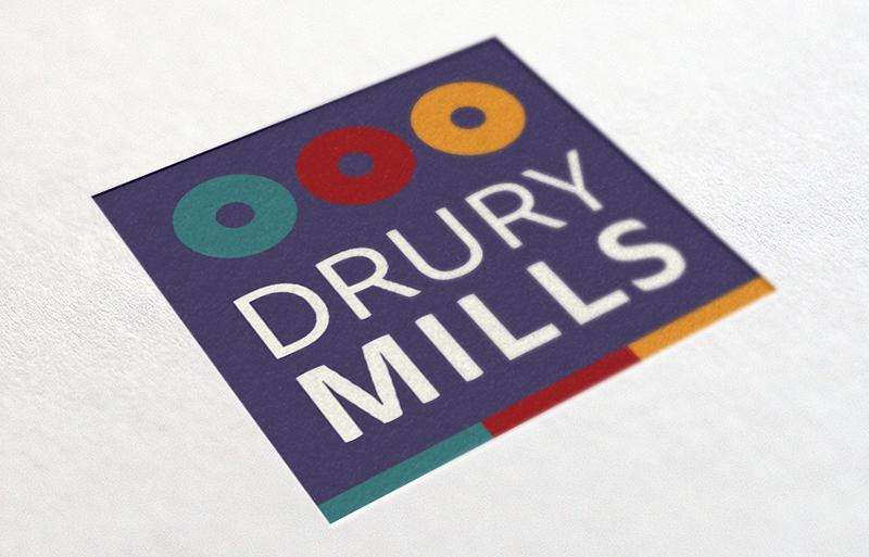 Drury Mills logo design